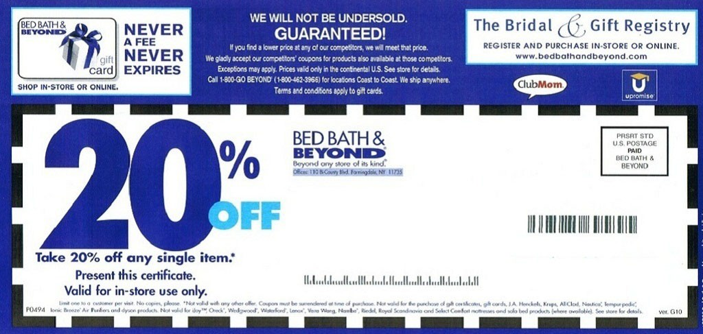 Bed Bath and Beyond Coupon 20% OFF